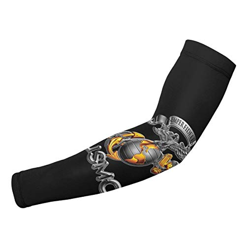 Arm Sleeves USMC Semper Fidelis Patriotic Compression UV Protection Cooling Arm Cover Gloves for Women Men 1 -
