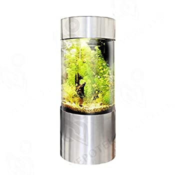 Vepotek 55Gallon Full Acrylic 360 Cylinder Aquarium Fish Tank with Brushed Stainless Steel Base and Canopy Tall Base Version 69 in x 20 in