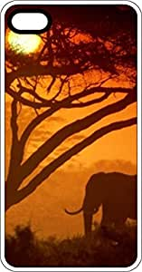 Elephant In Sunset With Tree White Rubber Case for Apple iPhone 5 or iPhone 5s by lolosakes
