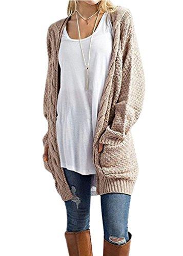 Miatty Women's Boho Long Sleeve Open Front Chunky Cardigans Pointelle Pullover Sweater Blouses Khaki M