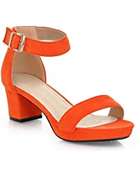 Women's Solid Imitated Suede Kitten Heels Open Toe Buckle Sandals