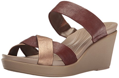 Crocs Women's Leighann Leather Wedge Sandal, Bronze, 9 M US Bronze Leather Wedge