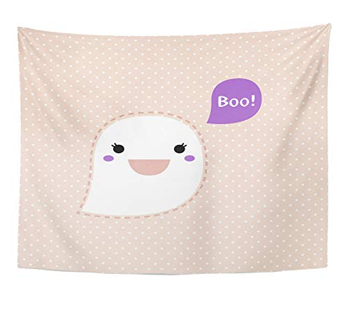 Emvency Tapestry Wall Hanging Anime Cute Kawaii Ghost Dotted Retro Boo Clipart Adorable Animal Animation 60