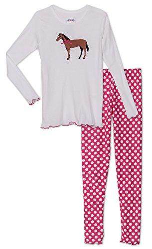 Sara's Prints Girls' Horse & Polka Dot 2 Piece Pajama Set, Kids Size (Saras Prints Girls 2 Piece)