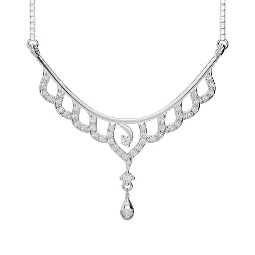 Or blanc/or jaune/Platine Diamant Collier avec chaîne dnc-2215-vsgh