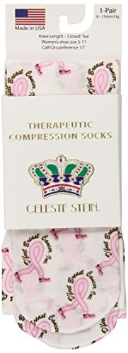 Celeste Stein Therapeutic Compression Socks, D'Feet Breast Cancer, 8-15 mmhg, (Steins Foot)