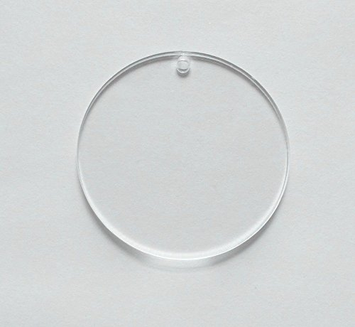 15pcs Clear Blank Acrylic Round Circle Key Chains Acrylic Tags,Clear Acrylic Laser Cut Round Sheet with Hole (4.0