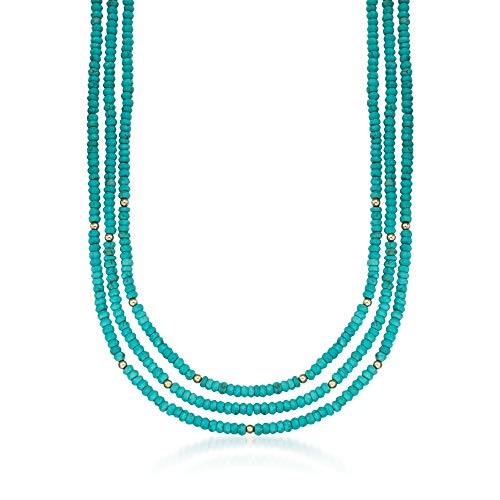 (Ross-Simons Turquoise Bead Three-Strand Necklace With 14kt Yellow Gold)