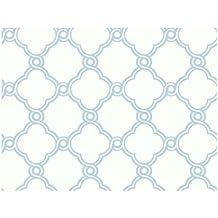 York Wallcoverings AP7492 Silhouettes Fretwork Trellis Wallpaper, Light Blue/White by York Wallcoverings