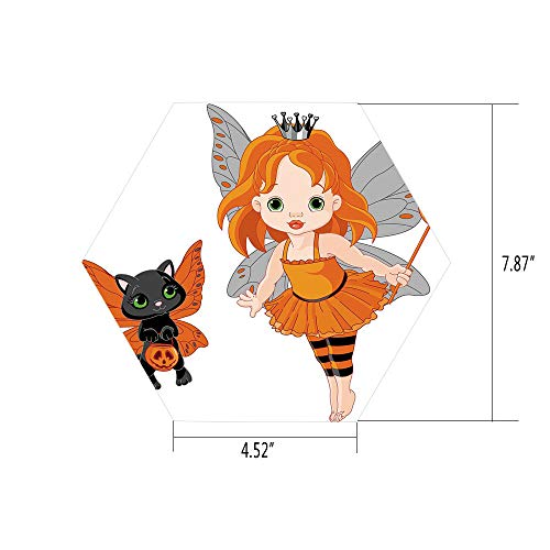 iPrint Hexagon Wall Sticker,Mural Decal,Halloween,Halloween Baby Fairy and Her Cat in Costumes Butterflies Girls Kids Room Decor Decorative,Multicolor,for Home Decor 4.52x7.87 10 Pcs/Set ()