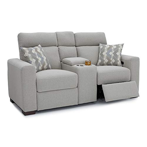 Seatcraft Capital Home Theater Seating Performance Fabric Power Recline Sofa with Adjustable Powered Headrests, Center Storage Console with Cup Holders, Matching Pillows, Light Grey (Centre Sofa Clearance)