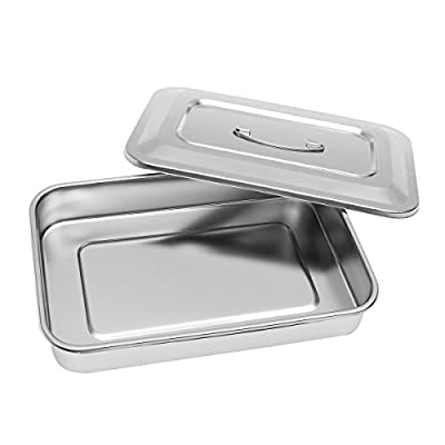 """Stainless Steel Instrument Tray Organizer Holder with Lid & Handle Grip 12""""x8""""x2"""""""