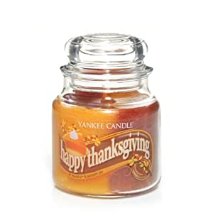Yankee Candle 13 oz Swirl Candle HAPPY THANKSGIVING - a swirl of Be Thankful and Pumpkin Pie