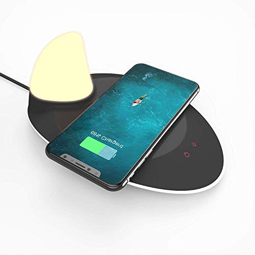OREBO Decorative Beside Table Lamp | Desk Lamp with Wireless Qi Charger | Night Light Different Colors | Bedroom Lamp for Nightstand
