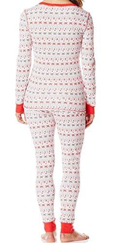El 90un punto de mujer novedad impresión PJ salón Ladies cuello redondo térmico PJ pijama de 2piezas top & HEART & SKULL