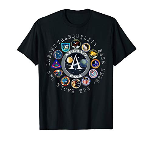 All Apollo Badges Tranquility Base Here The Eagle has Landed T-Shirt (Tranquility Base Here The Eagle Has Landed)