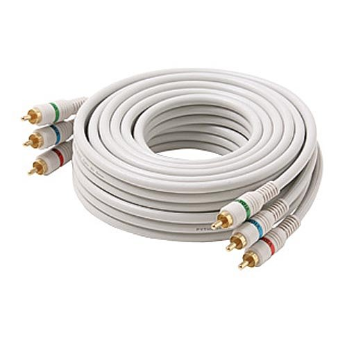 25' FT RCA Video Component Cable 3 RCA Male to Male Ivory Gold Python Shielded Color Coded Gold Plated Connectors Python Cable Stereo Double Shielded 3-RCA Cable Digital Signal Jumper