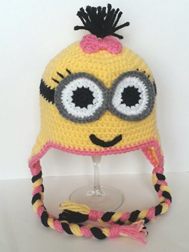 [Buy Home Handmade Despicable Me Toddler Baby Minion Crochet Hat 4 Sizes (M, One Eyed Pink)] (Despicable Me Minion Hats)