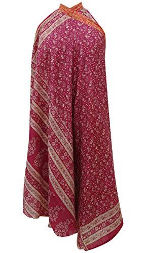 Indianbeautifulart Les Femmes Check Imprimer Pure Soie Vintage Saree rversible Rouge Wrap Summer Beach Dress Magenta et Salmon