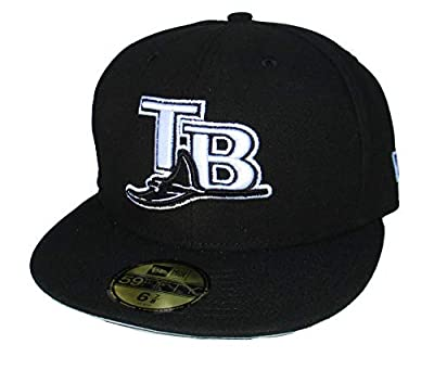 Tampa Bay Rays Fitted Size 6 7/8 Hat Cap - Black and White