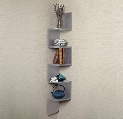 Amazon.com: 5-Tier Large Zig Zag Decorative Corner Shelf ...