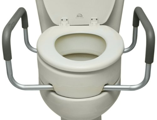 Essential Medical Supply Elevated Toilet Seat with Arms, Elongated, 19.5 x 14 x 3.5 Inch