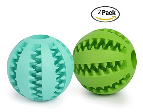 hoochye Dogs Tooth Cleaning Ball,Pet Traning Toys,Soft Rubber Bouncy IQ Toy,Size 2.75 (2 Pack) by hoochye