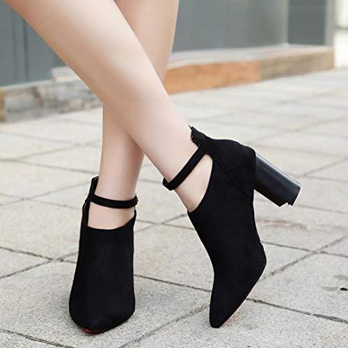 Autunno quadrato Sandali pelle Donna donna Boot in Elecenty scamosciata Classico Nero da Stivali alto stivaletti tacco con inverno Classici alti Tacchi cinturino Zw6zTn6q