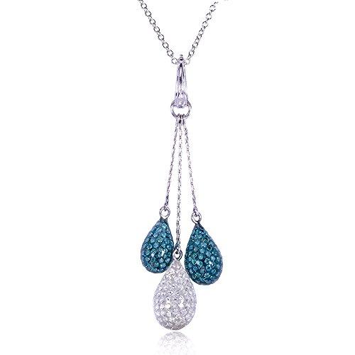 Traité Avec zircons ronds Blanc et Bleu Diamant Pendentif Goutte Lariat 21/2carat (ctw) en or blanc 18K or blanc 14K (Chaîne)