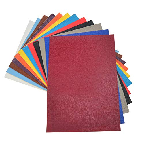 - 12 Solid Colors A4 Size 8x11 Inch Litchi Grain Faux Leather Fabric Sheets for Earrings Making, Bows Making, Hair Accessories Making, Home Decoration, Patchwork, Upholstery, Each Color One Sheet