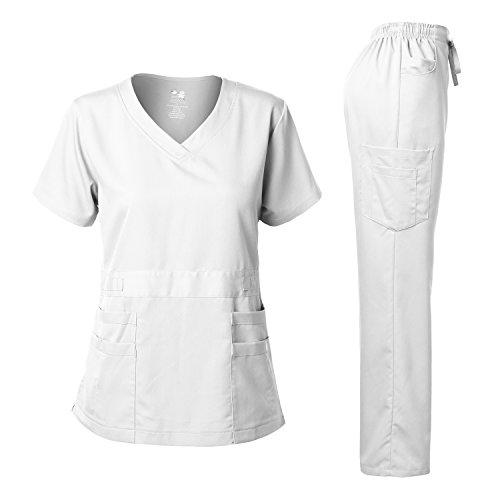 Women's Scrubs Set Stretch Ultra Soft V-NECK Top and Pants White L