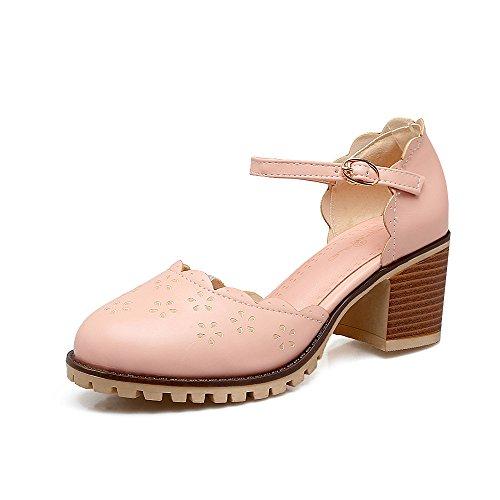Qin Señaló Pink Al amp;x Tobillo Sandalias Mujer Bloque Toe Tacones La frfqCBw
