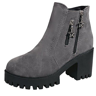 RTRY Women's Shoes PU Fall Comfort Fashion Boots Boots Chunky Heel Round Toe Mid-Calf Boots Zipper For Casual Gray Black US6.5-7 / EU37 / UK4.5-5 / CN37 WD4zcKj