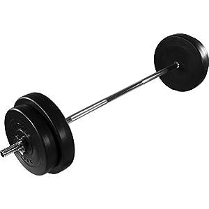 MOVIT® Langhantel Set 30 kg, Stange verchromt und gerendelt mit...