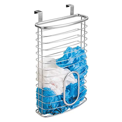 mDesign Metal Over Cabinet Kitchen Storage Organizer Holder or Basket - Hang Over Cabinet Doors in Kitchen/Pantry - Holds up to 50 Plastic Shopping Bags - Silver ()