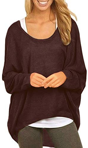 Sweaters Women Boutique - UGET Women's Sweater Casual Oversized Baggy Off-Shoulder Shirts Batwing Sleeve Pullover Shirts Tops Asia XL Coffee