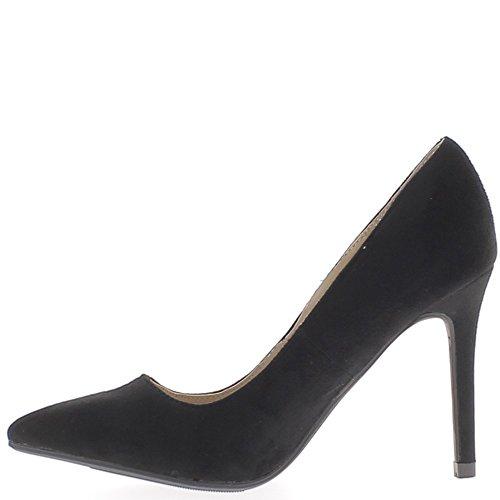 Escarpins noirs à talons fins de 10cm bouts pointus aspect daim