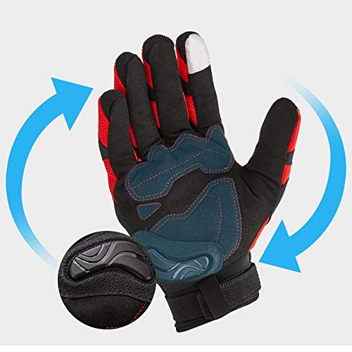 AINIYF Tactical Gloves | Motorcycle Cycling Rider Knight Four Seasons Anti-falling Breathable Non-Finger Full Finger Motorcycle Gloves Touchable (Color : Red, Size : M) by AINIYF (Image #3)