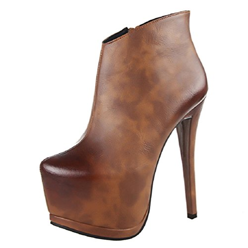 Kvinners Brun Plattform Hooh Gradient Ankel Boots Stiletto Retro Odp0xSw