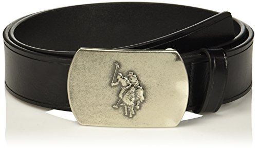 U.s. Polo Assn. Men's Men's Genuine Leather Belt With Plaque Slider Buckle, black, 40