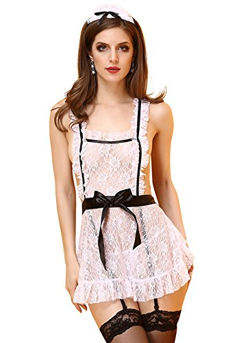 French Maid Uniform Dress (Jelove Women Sexy Lingerie French Maid Costume Cosplay Uniform Apron Fancy Crotchless Dress)