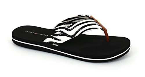 US 8 Hilfiger B Sandals Tommy Blackwhite Caravan and Women's Fabric M Synthetic F4fRxWZwRP