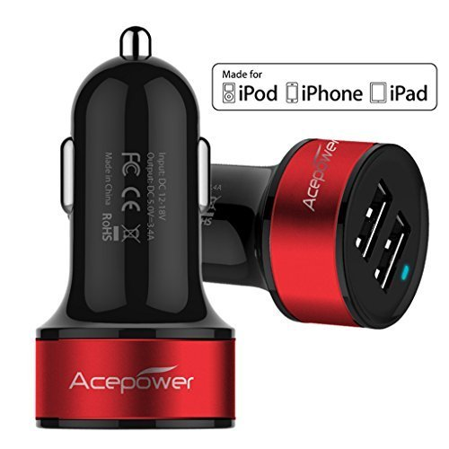 [Certified by Apple - Lifetime Warranty] ACEPower® Dual USB Ports 3.4A/17W Portable USB Car Charger for iPhone 6 6plus 5 5S 5C 4 4S,iPad 4 3 2,iPad mini,iPad air Battery Power Supply for All Apple Device, Galaxy, Cell Phones, Tablet, Android Devices, Portable Cigarette Lighter Plug, Mobile Travel Charging Station 12V Input (Lightning Cable/Adapter Not Included)- Premium MFI Quality (Black w. Red Band)