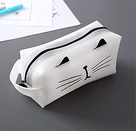 Mon5f Stationery Artículos de papelería Estuches para lápices Estilo Simple Gato Patrón Gran tamaño Pluma Estuche