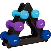 Trademark Innovations WTRACK-Tri 20-PoundDumbell Set with Foldable Rack-Neoprene-