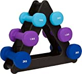 Trademark Innovations 20-Lb. Dumbell Set with Foldable Rack - Neoprene