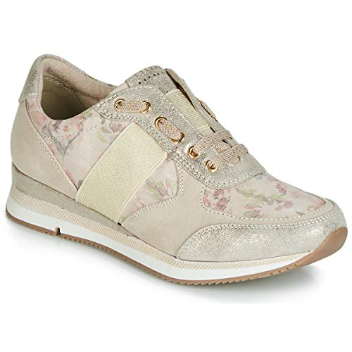 Mujer gold Para Beige Tela Beige Zapatos Cordones Marco De Tozzi gqYwq6F