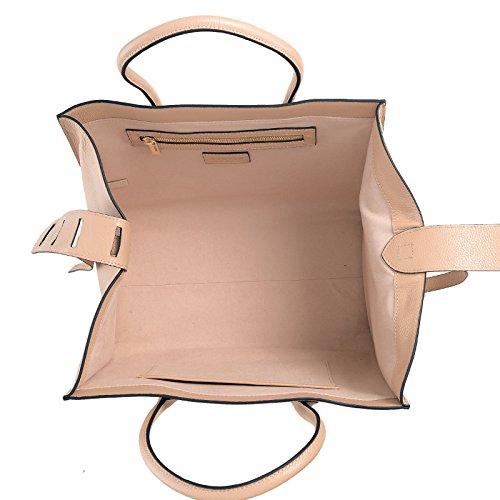 ROUVEN Blush poudre nude & Gold MAYDLEN CHYC TRAPÈZE Tote Bag laidies Sac à main en cuir élégant affaires puriste blogueur moderne (35x27x19cm)