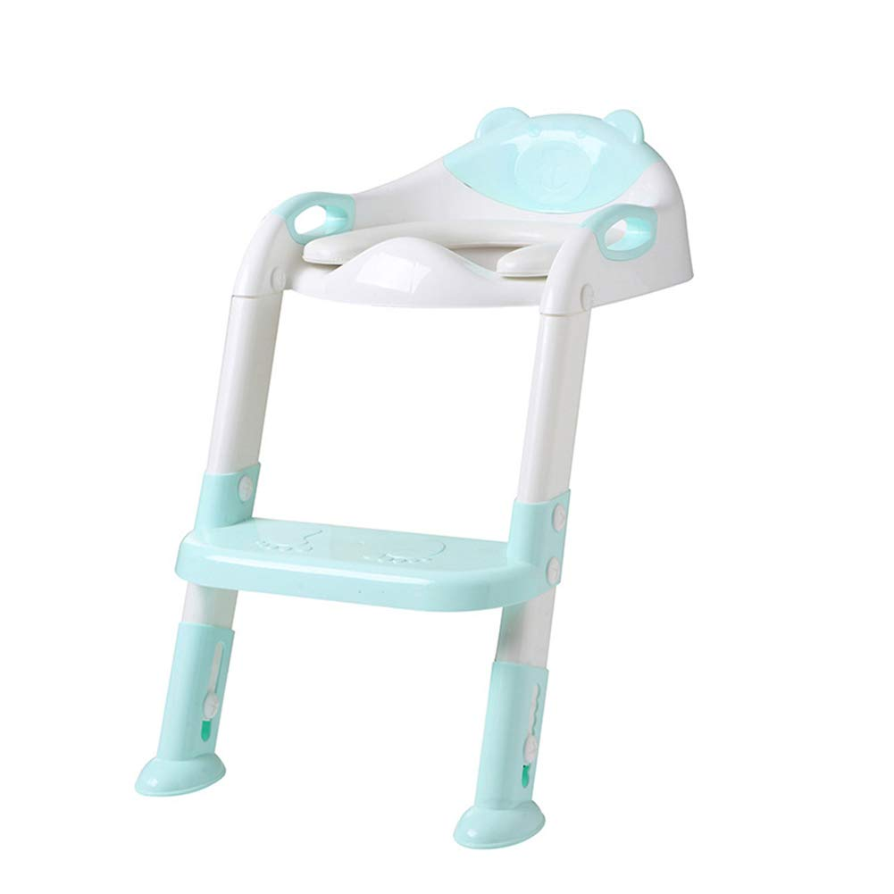 Comfortable Potty Toilet Trainer Seat Stool, Adjustable Ladder Toilet Training Chair Toilet Seat Children Pot for Bathroom,Green by HB Toilet Stool