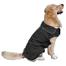 Fashion Pet Supply Waterproof Coat Dogs Raincoat Windproof Cats Jacket Pets Vest For Large Dog Color Black Size XXL